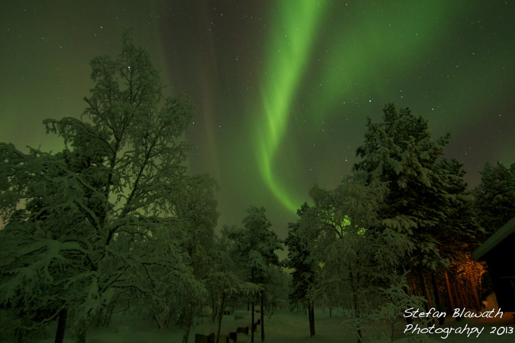 Nordlichter über verschneitem Wald und Hundehütten