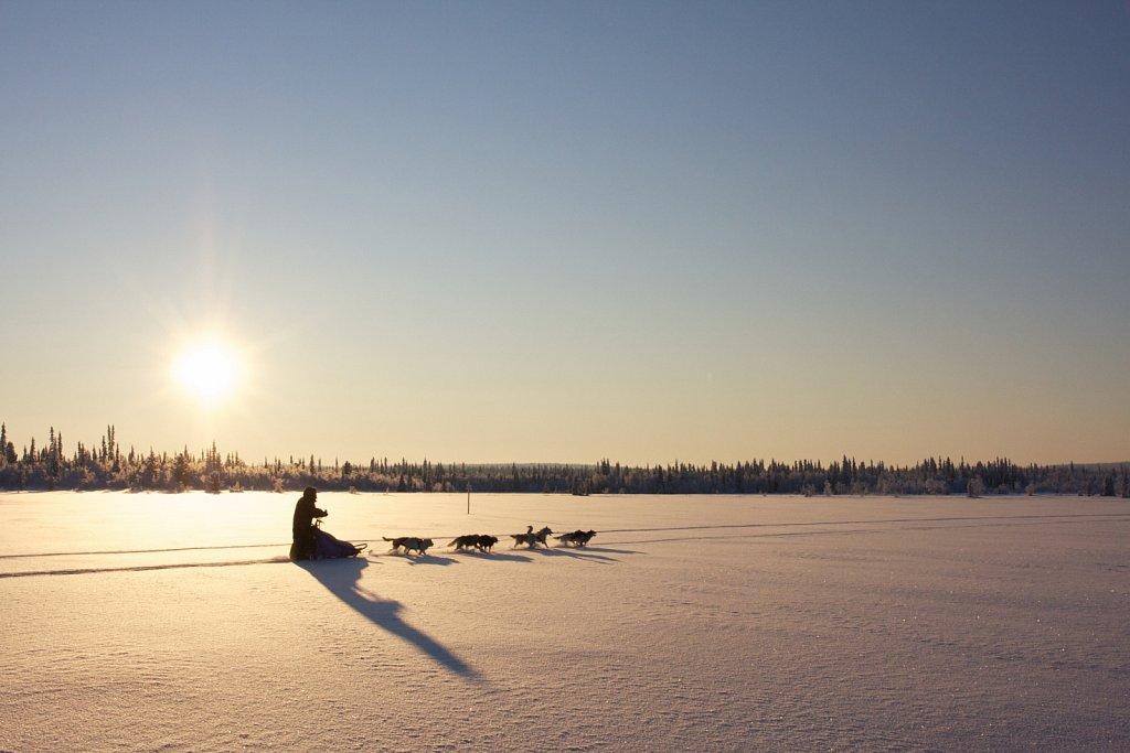 Lange Schatten über der verschneiten Landschaft
